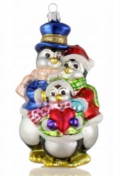 Bombka Szklana Rodzina Pingwinków z sercem