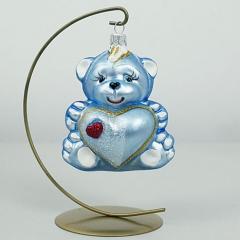 Bombka Szklana Miś z sercem Różowy 9,5cm