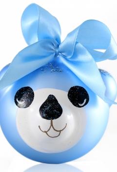 Bombka Szklana MIŚ niebieski 8 cm z imieniem dedykacją