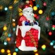 Bombka Szklana Mikołaj w kominie 16cm Prezent na Boze Narodzenie