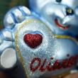 Bombka Szklana Miś z sercem Niebieski 9,5cm Prezent na Mikołajki